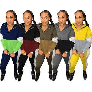 Para mujer de dos piezas de Trajes de manga larga de ropa deportiva chándal atractivo para trotar camisa deportes de invierno polainas trajes clubwear klw2864 venta caliente