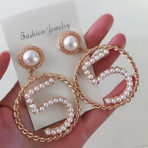 Women NO5 Luxury Earring Pearls Designer Stud Earring Famous Jewelry Accessories Gift for Love High Quality