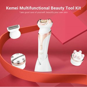 2016 Kemei 296 4 In 1 Kit Women Shaver Electric Hair Removal Epilator Cordless Rechargeable Bikini Trimmer With Facial Cleansing Brush MnyGY