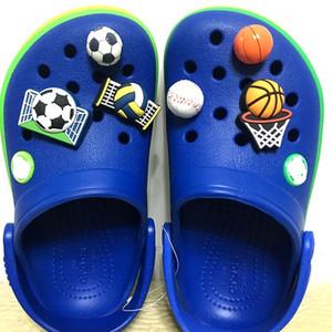 Original JIBZ Children's gift 3D Football basketball volleyball shoe flower toys Cartoon PVC beach shoe accessories for kids