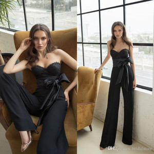 Julie Vino Black Prom Dresses Sweetheart Lace Women Tuta da sera Abiti Bow Sash Formal Pantsuits Occasion Dress
