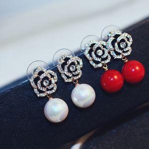 luxury designer jewelry women earrings flower red pearl stud diamond earrings elegant high-end retro silver asymmetric hoop fashion jewelry