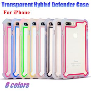 Para iPhone XS Max XR Defender Funda de teléfono transparente cubierta protectora completa del robot Hybird para iPhone 7 8 Plus 6 6S Plus