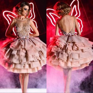 Princesa Blush Pink Vestidos de Fiesta de Cóctel Cortos Sheer Neck 3D Apliques de Flores de Organza Con Gradas Vestidos de Fiesta BC0386