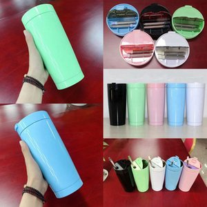 Europe and America 20oz Folding Straw Vacuum Cup 5 Colors Stainless Steel Double Layer Car Mugs with Straws Brushes