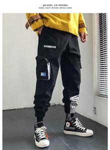 2020 Hip Hop Joggers Hommes Noir Sarouel multipoches garçon locomotive Sweatpants mode Streetwear fonctionnels Pantalon cargo