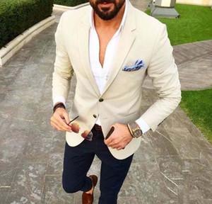 2019 Custom Made Mens Suits Beige Blazer Navy Blue Pants 2 Piece Groom Tuxedos Slim Fit Men Wedding Tux Prom Party Suit (Jacket+Pants)