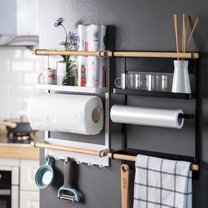 Réfrigérateur magnétique Adsorption latéral pour rack mural multi-fonctions de stockage Support de cuisine papier serviette étagère rack Organisateur T200413