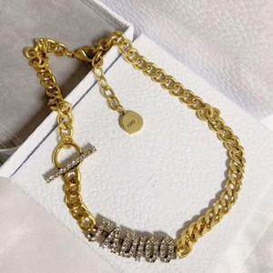 Nova cadeia de letras clássicas de diamante personalizado de jóias colar de jóias chapeamento de espessura anti desvanecer-mulher colar de moda