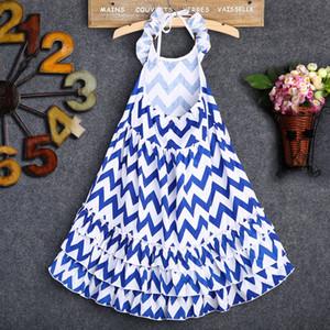 Summer Fashion Kids Girls Halter Dress Stripe Boho Maxi Long Holiday Dresses Sundress Party Clothes