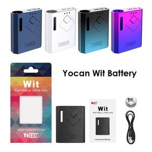 Originale Yocan Wit batteria 500mAh Vape Mod E Cigarette Preriscaldare VV batteria con USB Charger Fit cartucce 510 Carrelli Oil