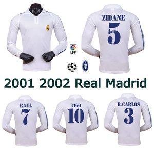 2001 2002 레알 마드리드 홈 롱 슬리브 축구 유니폼 ZIDANE FIGO HIERRO RAUL MORIENTES 클래식 레트로 축구 셔츠 빈티지 저지