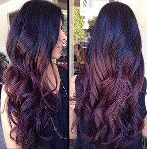 European and American wig burgundy gradient long curly hair high temperature silk female fashion wig
