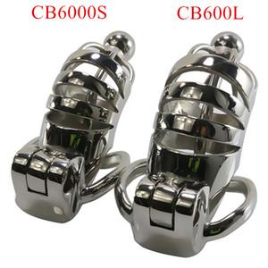 Dispositivo de castidad masculina de acero inoxidable CB6000 CB6000S Catéteres de metal Jaula de castidad Hueco Pene Cockrings Producto sexual para hombres G7-1-227