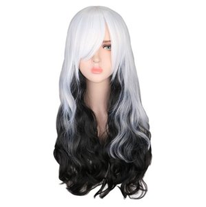 Japanese Harajuku super cute Wig Black and white mixed color Cosplay Costume &Party&anime wig