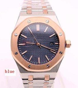 Los 41MM automáticas de dos tonos de acero inoxidable pulsera al aire libre refinados del reloj para hombre Relojes A5013 fondo transparente azul Dial Con Bisel De Oro