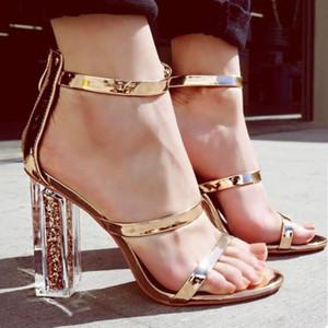 NIUFUNI Mulheres Sandálias Salto Alto Sapato Aberto à frente cristal transparente com lantejoulas Calçados Femininos Elegant Grosso Heeled Sandals ouro sapatas da mulher