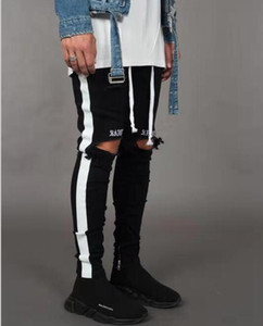 New Fashion Mens Jean Street Black Holes White Stripes Jeans Hiphop Skateboard Pencil Pants