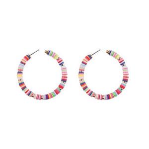 Pendientes NATASHA accesorios de la joyería del aro del Multi reciclable colorido del arco iris arcilla del polímero de perlas multicolor del aro del aro