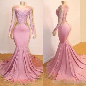 Pink Long Sleeves Mermaid Prom Dresses Gold Lace Applique Sweep Train Illusion Back Formal Occasion Wear Party Gowns