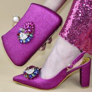 2019 Chegada Nova Mulheres sapatos e sapatos saco para combinar Set Itália italiano e Bag Set para Party In Mulheres Mulheres partido nigeriano Bombas