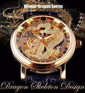 Forsining Drago Cinese disegno di scheletro Trasparente Caso meccanico maschio orologio da polso d'oro orologio da uomo Orologi marca superiore di lusso
