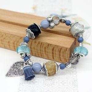 браслет роскошь дизайнер ювелирных изделий женщин браслетов натуральный камень бисер очарование морских сериалах Браслет замороженный из браслета NE1104