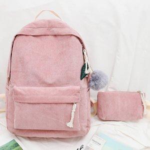 Sacchetto di scuola morbido tessuto di moda per adolescenti Durable Corduroy di Student scuola Donne Schoolbag Zaino a righe Backpack Satchel SH190924