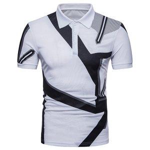 Mens Designer Mode géométrique lambrissé Polos Natutal Couleur Casual Polos Lapel cou à manches courtes Polos Vêtements pour hommes