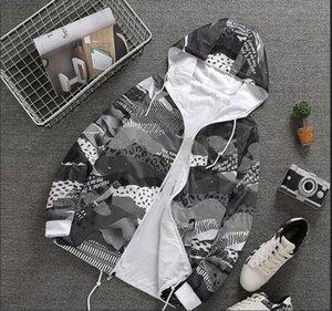 Весна осень новый человек Женская спортивная куртка с капюшоном Цветочный печати куртки Мужчины Мода Тонкий Ветровка Открытый Двусторонний Zipper CoatsM70