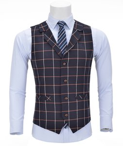 Mens Business Vest Boutique Slim Fit Single-breasted Cotton Suit Wool Plaid Navy Waistcoat For Wedding Formal Vest Groomsmen