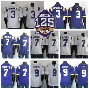 LSU Tigers Jerseys 9 Joe Burrow Jersey 7 Leonard Fournette 3 Odell Beckham Jr 7 Tyrann Mathieu NCAA College футбол Джерси сшитый