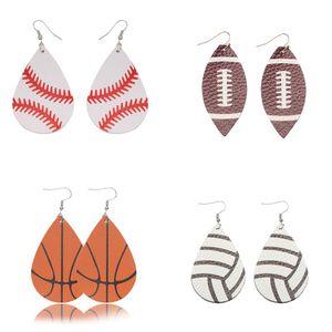 Baseball Basketball Leder Ohrringe Sport Rugby Volleybal Teardrop baumeln Haken-Ohrringe Punkmädchen Einzigartige Statement-Schmucksachen für Frauen