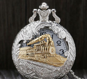 New retro silver charming golden train engraving hollow steampunk quartz pocket watch men's necklace pendant clock gift mm1