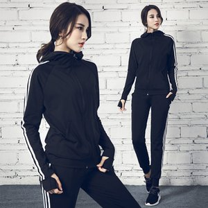 2020 Autumn New Women's Tracksuit Long Sleeve Hoodie Sweatshirt Fitness Leggings Female Casual Striped Sport Suit Yoga Set
