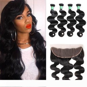 Brazilian Body Wave Virgin Hair Bundles with 13x4 Lace Frontal Closure Wet and Wavy Body Wave Lace Frontal Weaves Closure Human Hair Bundles