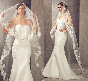 2019 горячая распродажа 3 метра длинная самая низкая длина часовни белая / слоновая кость фата кружева аппликации свадебные платья фаты