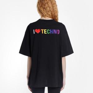 Andys camiseta de la moda de la manga Negro I Love Techno corto de gran tamaño de las mujeres del algodón de la camiseta HFWPTX379