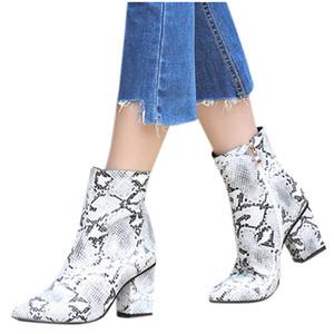 Roma Snake Stampa Inverno Stivali donna solide Large Size quadrati Med Tacchi Zipper breve stivali Shoes Scarpe Donna caviglia per signora
