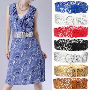 2019 nouvelle boucle métal ceinture femmes classique rue luxe fashion pu taille évider large élastique extensible ceinture