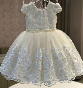 Pérolas de Renda marfim 2019 Africano Flor Menina Vestidos De Baile Do Vintage Vestidos de Casamento Da Menina Vestidos Pageant Comunhão Baratos FL46