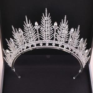 Gelinler Balo Yarışması Saç Takı headpiece İçin Harika Köpüklü Gümüş büyük düğün Diamante Yarışması Tiaras Kafa Kristal Gelin Taçlar