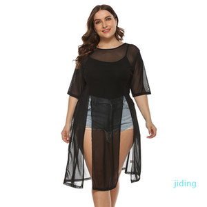Wholesale-Plus Size Swimsuit Cover Up Womens Lace Beachwear Sexy Black Mesh Beach Dress Round Neck Sleeve Bathing Suit Cover Ups Dresses