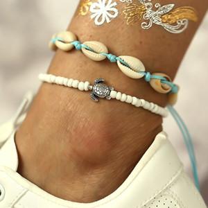 Mulheres artesanais criativo retro banhado a prata frisado pé cadeia pulseira conch verão praia tartaruga push-pull tornozeleiras set (2 peças)