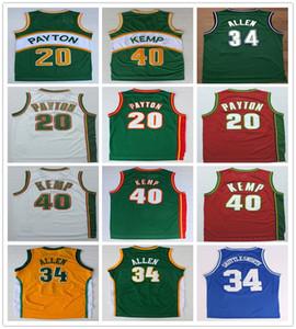 Dikişli Erkekler Gary 20 Payton Jersey Yeşil Beyaz Kırmızı Shawn 40 Kemp Gömlek Koleji Basketbol Ray 34 Allen Formalar Spor Gömlek Üniforma