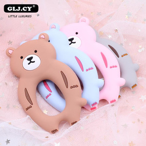 Baby Silicone Teethers DIY Animal Bear Teether Rodent Chew Kids Toys Teething beads Ring Gift Toddler Toy 1pcs