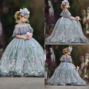 Gümüş Cutetulle Balo Çiçek Kız Elbise Dantel Aplike Yüksek Boyun Rhinestones Çocuklar Pageant Elbise Kat Uzunluk Kızın Doğum Günü Partisi