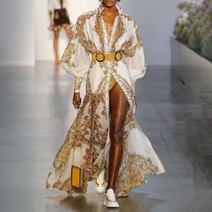 Дизайнер люкс Женщины Подиум Платья Стенд ошейник с длинным рукавом Золотой Цветочный печати Милан Runway платье верхнего качества Женский длинное платье A244
