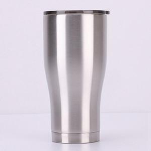 Courbe Tumbler 12 oz 20 oz 30 oz courbant en acier inoxydable à double paroi vide Voyage Tasse Gobelet avec couvercle étanche Milk Cup Beer LJJA4097