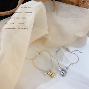 Woogge Lovely Smiling Face Pearl Pendant Bracelet for Women Geometric Round Coin Matte Gold Silver Color Metal Bracelet